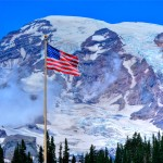 Old Glory and Mount Rainier
